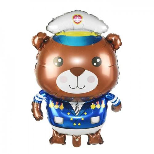 Шар фольгированный Фигура Мишка Капитан 34''