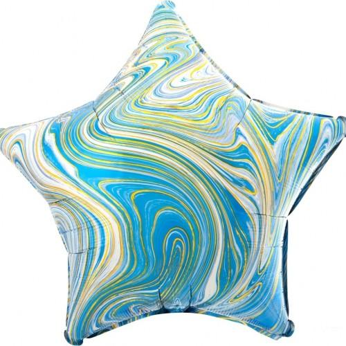 Шар фольгированный  Звезда Голубой мрамор