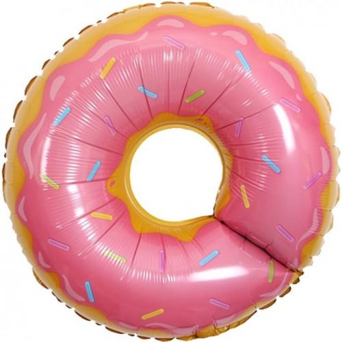 Шар фольгированный Фигура Пончик розовый 27''