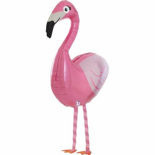Шар (23''/58 см) Ходячая Фигура, Фламинго, Розовый