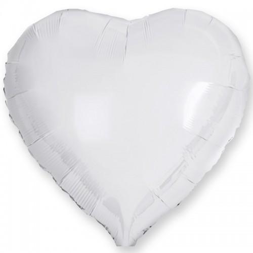 Сердце фольга белое