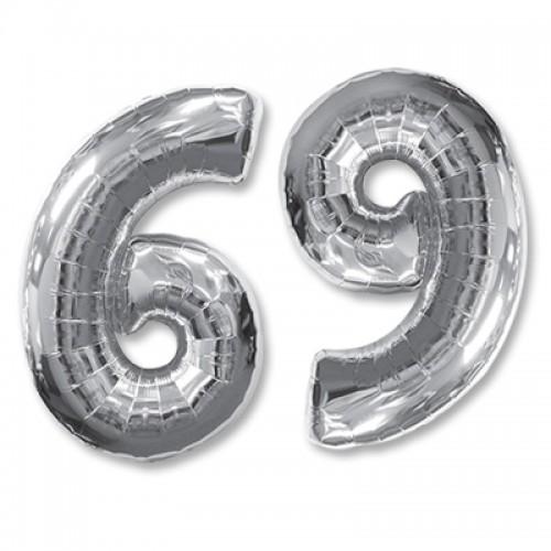 Шар фольга цифра 6 Серебро