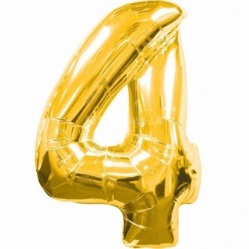 Шар фольга цифра 4 Золото