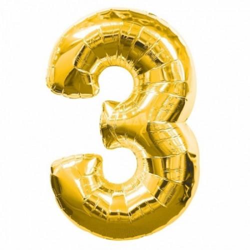 Шар фольга цифра 3 Золото