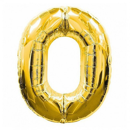 шар фольга цифра 0 Золото