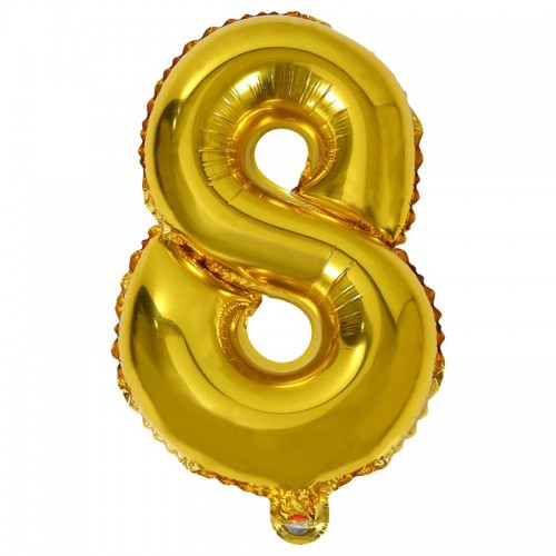 Шар фольга цифра 8 Золото