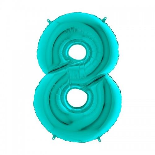 Шар фольга цифра 8 Тиффани