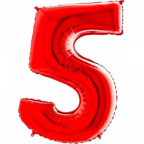 Шар фольга Цифра 5 Красный
