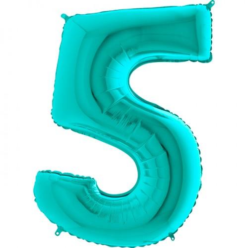 Шар фольга цифра 5 Тиффани