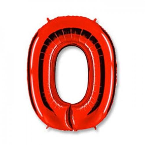 Шар фольга цифра 0 Красный