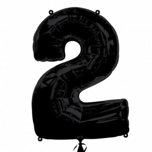 Шар фольга цифра 2 Черный