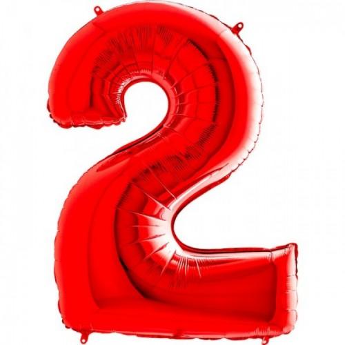 Шар фольга цифра 2 Красный