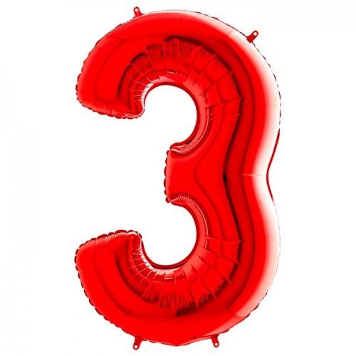 Шар фольга цифра 3 Красный
