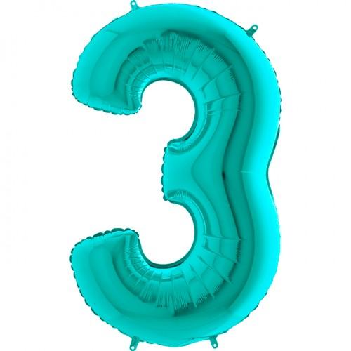 Шар фольга цифра 3 Тиффани