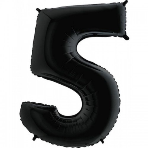Шар фольга цифра 5 Черный