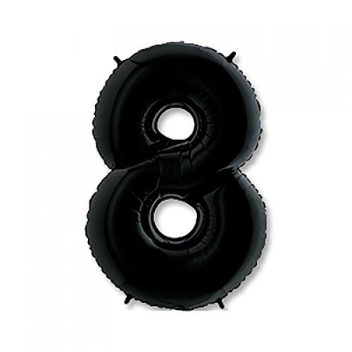 Шар фольга цифра 8 Черный