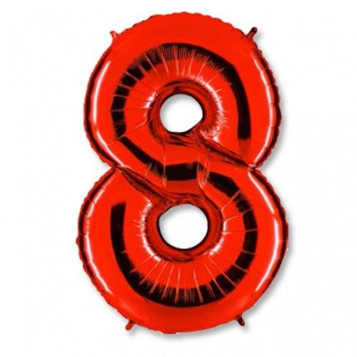 Шар фольга цифра  8 Красный
