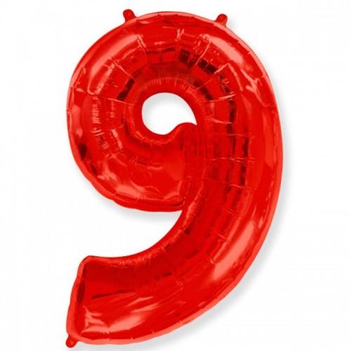 Шар фольга цифра 9 Красный
