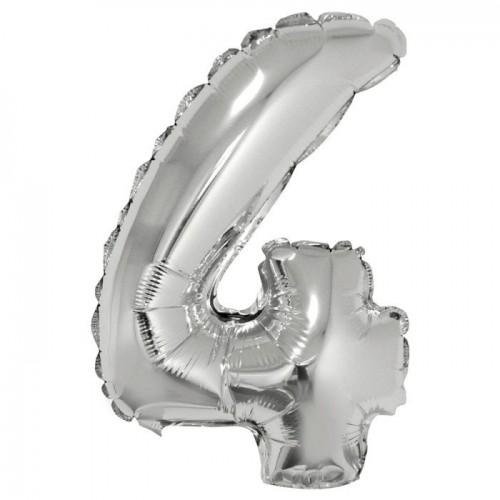 Шар фольга Цифра 4 Серебро